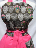 Retro Inspired Pink Candy Sugar Skull Sweetheart  Apron