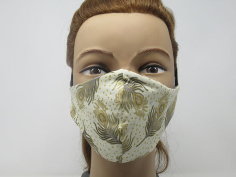 Cream and Gold Peacock and Dove Gray Solid Reversible Face Mask