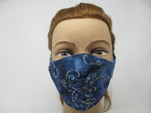 Dark Blue Paisley and Sky Blue Solid Reversible Face Mask