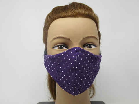 Dark Purple Polka Dot and Lilac Purple Solid Reversible Face Mask