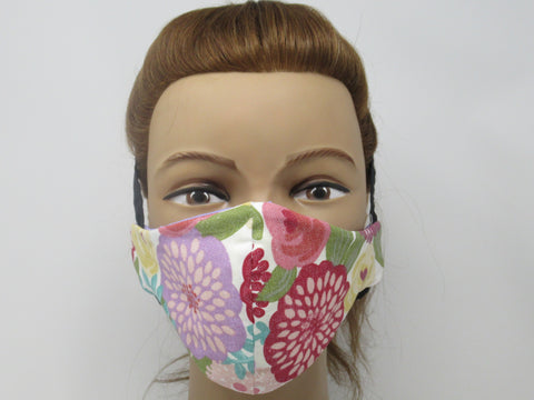 Bright Floral and Lilac Purple Solid Reversible Face Mask