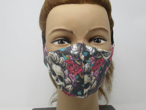 Marilyn Sugar Skull Fabric and Soft Pink Solid Reversible Face Mask
