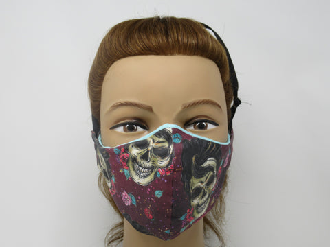 James Dean Sugar Skull Fabric and Soft Teal Solid Reversible Face Mask