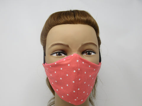 Peachy Pink Polka Dot and Peachy Pink Solid Reversible Face Mask