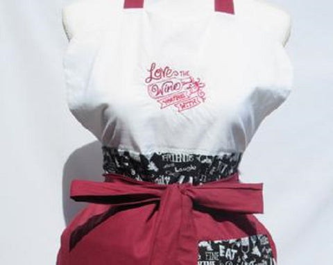"Vintage Inspired Apron Sassy Embroidered Wine Collection "" Love the Wine you're Winth""-Merlot"