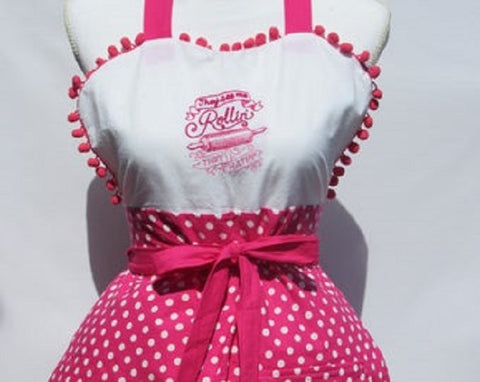 """They See me Rollin, They Hatin""/""Whip it Good ""  Reversible Apron with Hot Pink Polka Dot"
