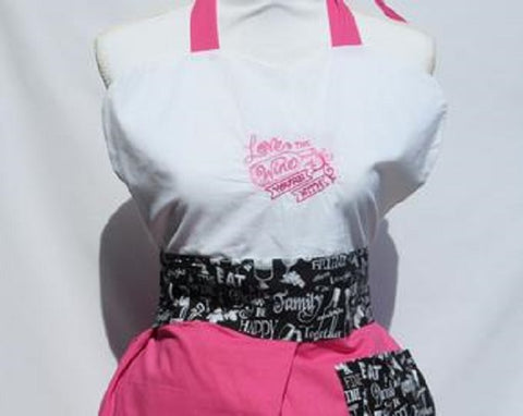 "Vintage Inspired Apron Sassy Embroidered Wine Collection "" Love the Wine You're With""-Rose"