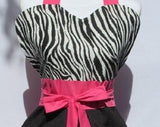 Retro Inspired Bubble Gum Pink Zebra Full Length Apron