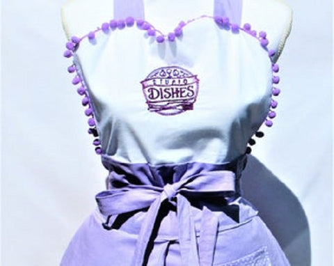 """Stupid Dishes""/I'm Sorry for what I said..."" Reversible Apron with Lilac Polka Dot"