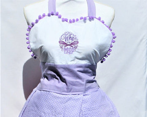 """Whip it Good ""/Give me some Sugah "" Reversible Apron with Lilac Polka Dot"