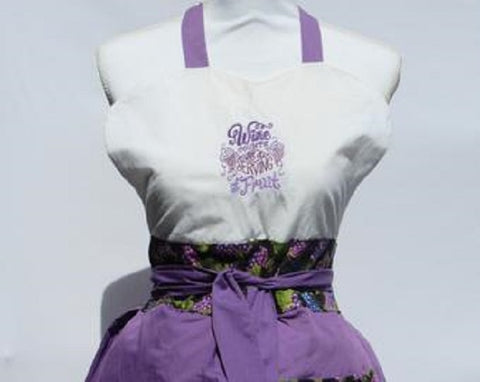 "Vintage Inspired Apron Sassy Embroidered Wine Collection "" Wine Counts AsAServing of Fruit""-Grape"