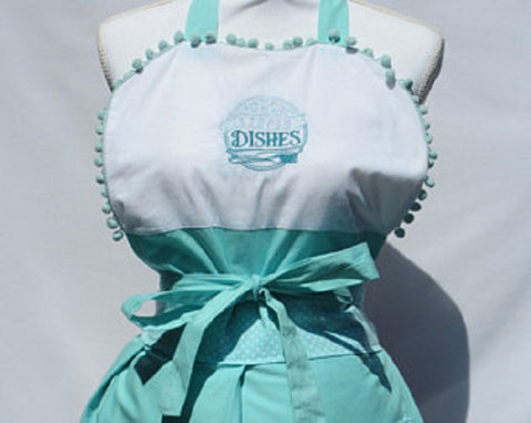 "Kitchen Sass Collection:  ""Stupid Dishes""/""Oh Crepe"" Reversible Embroidered Apron with Teal Polka Dot"