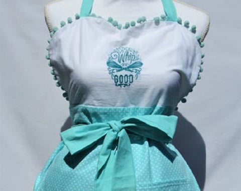 """Whip it Good""/""Give me Some Sugar"" Reversible Apron with Teal Polka Dot"