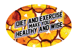 Orange Coins: Diet and Exercise = Healthy and Wise