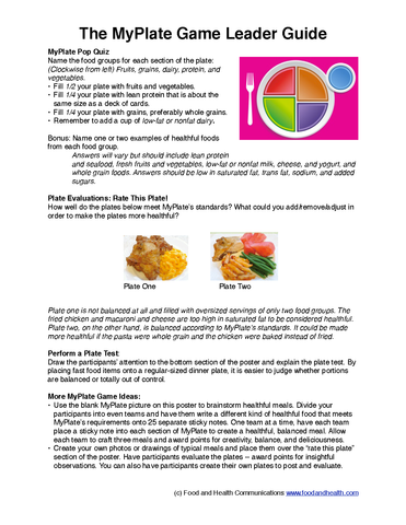 MyPlate Game Poster - Nutrition Education Store