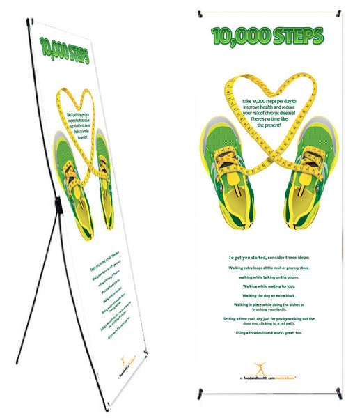 "Custom 10K Steps Banner and Banner Stand 24"" X 62"" - Add Your Logo To This Health Fair Banner - Nutrition Education Store"