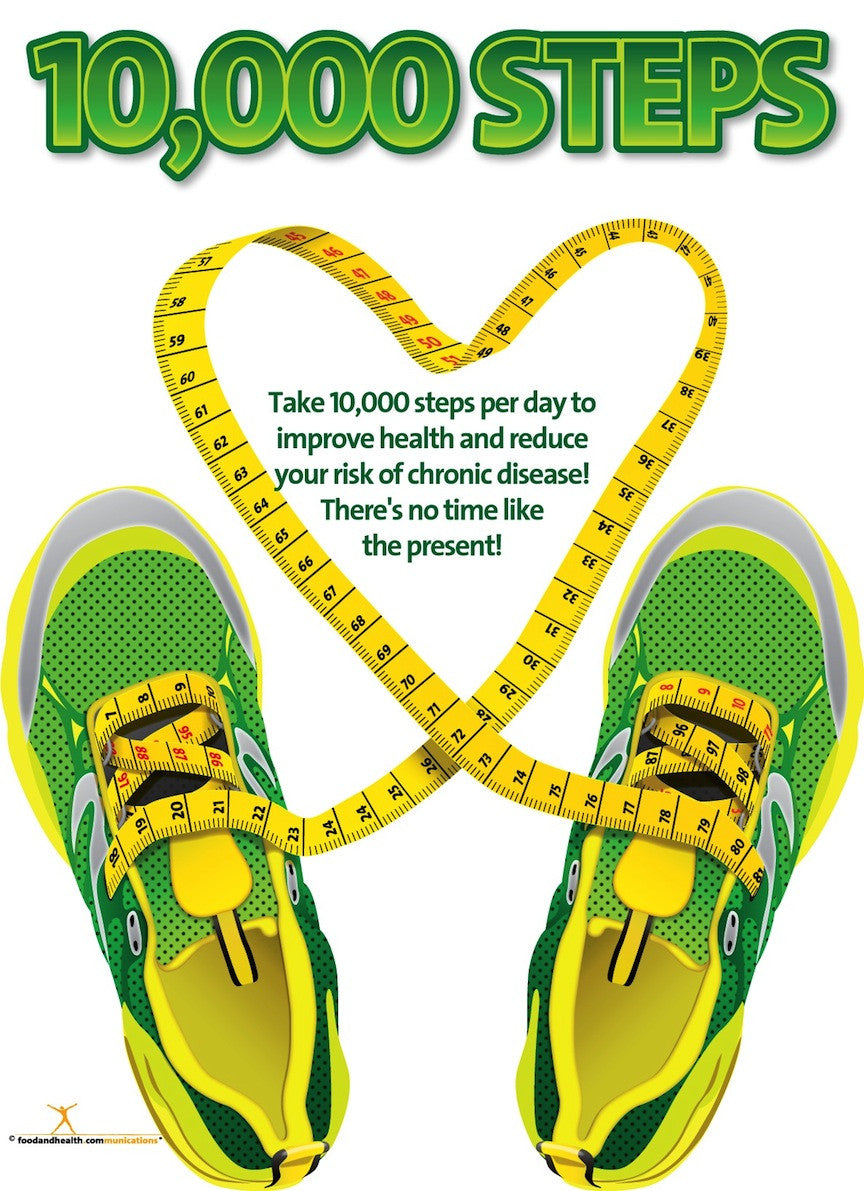10K Steps Poster - Exercise Poster - Nutrition Education Store