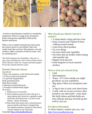 Farmer's Market Color Handout Download - Nutrition Education Store