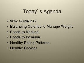 Dietary Guidelines PowerPoint Show 2010 - Nutrition Education Store
