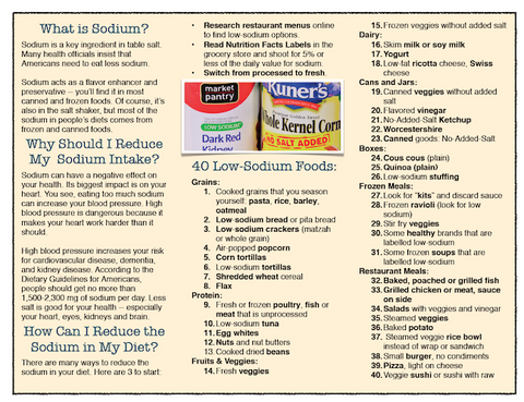 Low Sodium Success Brochure - Packets of 25 - Low Sodium Shopping List - Nutrition Education Store