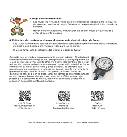 Blood Pressure Spanish Color Handout Download - Nutrition Education Store