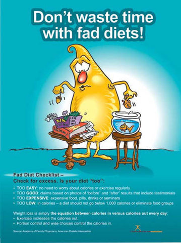 Don't Waste Your Time With Fad Diets Poster - Nutrition Education Store