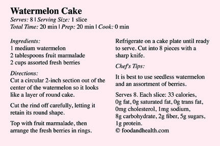 Recipe Card - Fruit Dessert - Watermelon Cake - 25 Pack - Nutrition Education Store