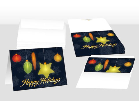 Holiday Fruit and Veggie Lights Notecards Pack of 10 - Nutrition Education Store