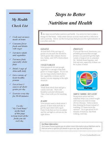 Food Log and Exercise Log Color Handout Download - Nutrition Education Store