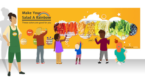 "Custom Eat From the Rainbow Banner 62""X24"" Vinyl - Add Your Logo To This Health Fair Banner - Nutrition Education Store"