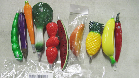 Fruit and Vegetable Shaped Pens - Pack of 100 Assorted Pens - Nutrition Education Store