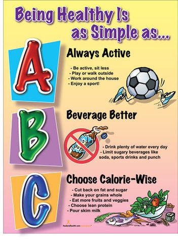 Being Healthy Is as Simple as ABC Health Poster - Nutrition Education Store