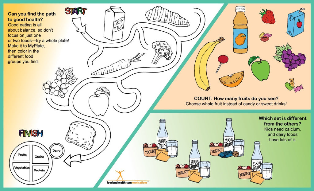 graphic regarding My Plate Printable Placemat named Youngsters MyPlate Recreation Placemat - Pack of 50 - 8.5\