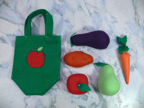 Kids Fruit and Vegetable Activity Set - Felt Vegetable Shopping Set - Nutrition Education Store