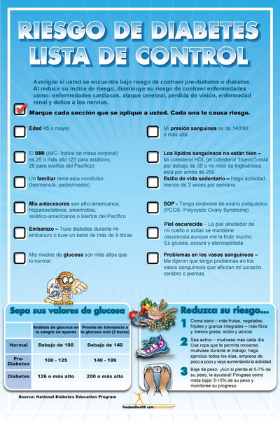 Diabetes Risk Poster Spanish 12X18 - Nutrition Education Store