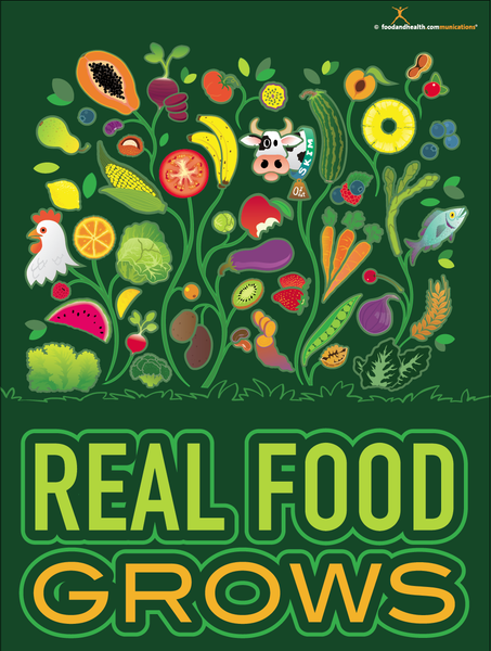 Real Food Grows Poster Nutrition Poster Motivational