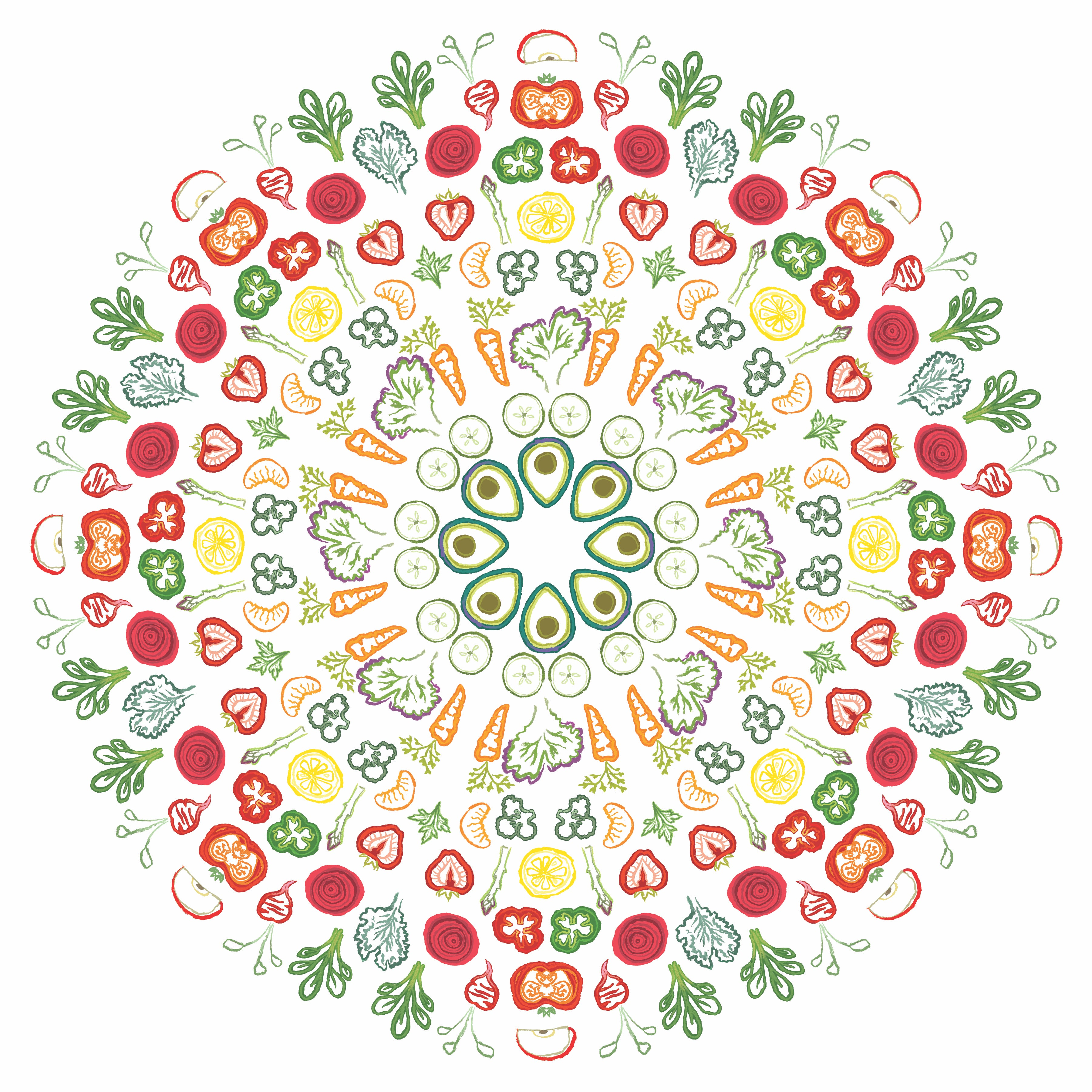 Walloon - Salad Mandala - Removable Wall Decal Sticker - Nutrition Education Store
