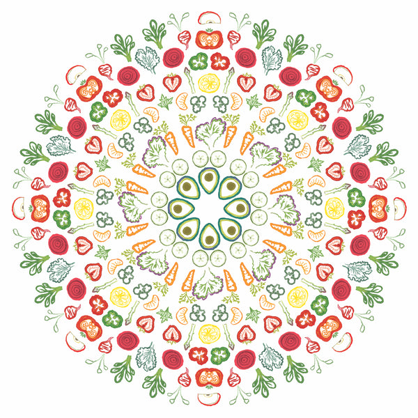 Floor Sticker - Salad Mandala - Removable Floor Decal - Nutrition Education Store
