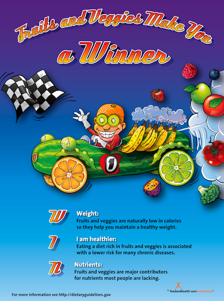 Fruits and Veggies Make You a Winner Poster - Nutrition Education Store