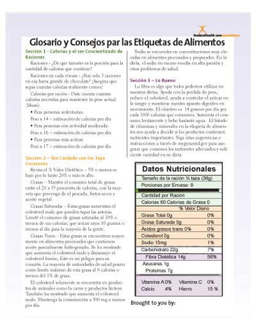 Nutrition Facts Food Label Handout Spanish Download - Nutrition Education Store