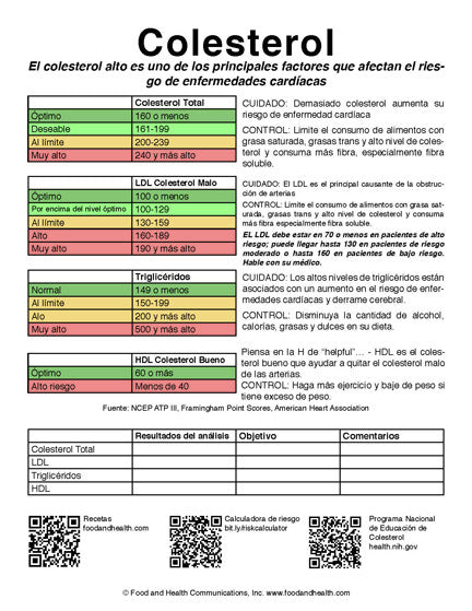 Cholesterol Color Handout Tearpad - Colesterol - Spanish - Pack of 50 - Nutrition Education Store