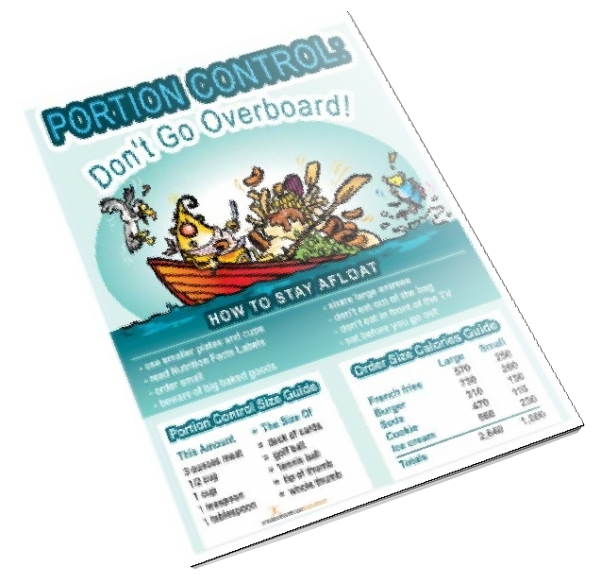 Portion Control: Don't Go Overboard Color Handout Download - Nutrition Education Store