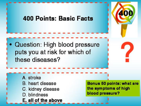 Blood Pressure Trivia PowerPoint Game - DOWNLOAD - Nutrition Education Store