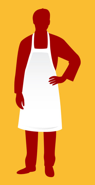 Economy White Apron 34 X 34 bib - Nutrition Education Store