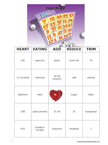 Heart Bingo Game - Nutrition Education Store