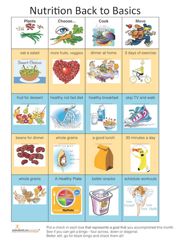 Nutrition Bingo Color Handout Tearpad - Nutrition Education Store
