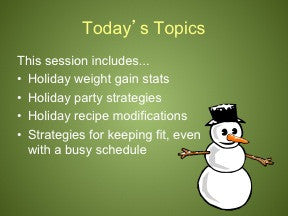 Holiday Survival: Keep Off the Pounds PowerPoint and Handout Lesson - DOWNLOAD - Nutrition Education Store