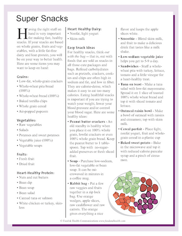 Snack Smart Color Handout Download - Nutrition Education Store