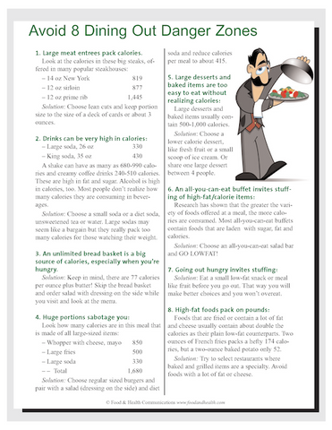Dining Out: Do It the Smart Weigh Color Handout Download - Nutrition Education Store