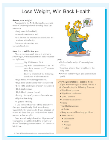 Do You Need To Lose Weight? Color Handout Download - Nutrition Education Store